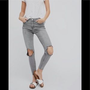 Free People Gray Busted Knee Skinny Jeans
